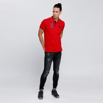Embroidered Polo Neck T-Shirt with Short Sleeves