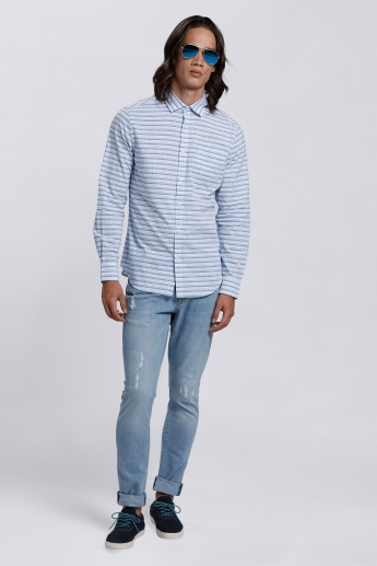Long Sleeves Shirt with Complete Placket on the Front