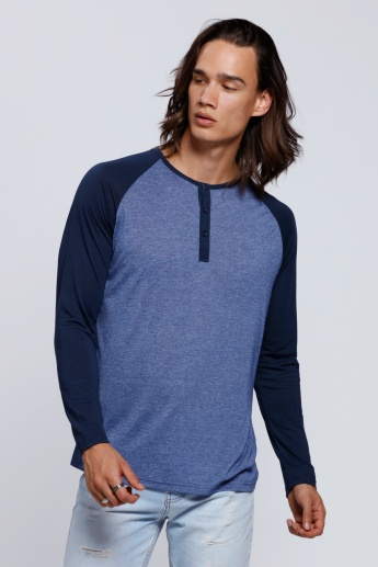 Long Sleeves Henley Neck T-Shirt