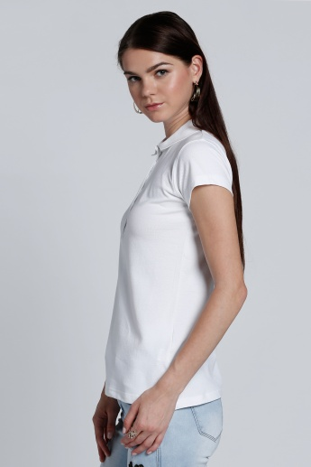 Short Sleeves T-Shirt with Polo Neck