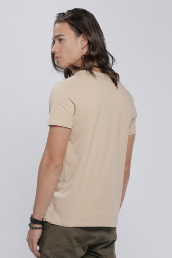 V-Neck T-Shirt with Short Sleeves in Regular Fit