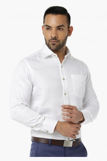Formal Shirt with Collar Neck and Long Sleeves in Regular Fit