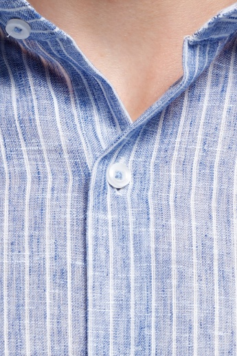 Striped Shirt with Complete Placket on the Front