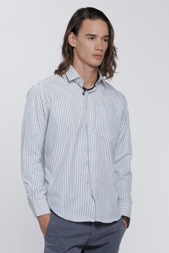 Striped Shirt with Long Sleeves and Complete Placket