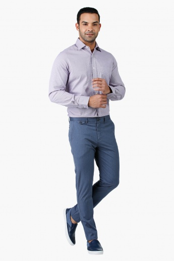 Arrow Textured Formal Cotton Shirt with Long Sleeves in Regular Fit