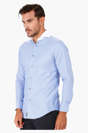 Striped Formal Shirt with Cut-away Collar and Long Sleeves