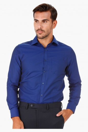 Textured Formal Shirt with Cut-away Collar and Long Sleeves