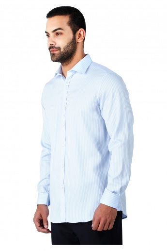 Formal Striped Cotton Shirt with Cut-Away Collar and Long Sleeves in Regular Fit