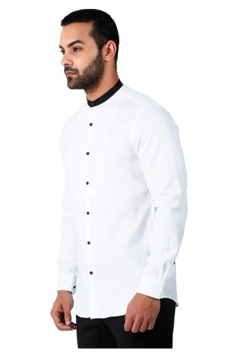 Formal Cotton Shirt with Mandarin Collar and Long Sleeves in Slim Fit