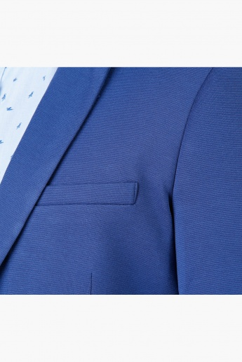 Textured Formal Jacket with Notch Lapel in Slim Fit