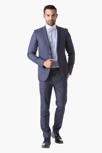 Textured Formal Suit-Jacket with Long Sleeves and Notched Lapel in Slim Fit