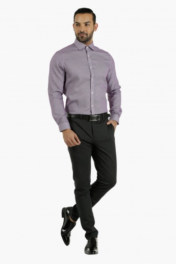 Cotton Dobby Shirt in Slim Fit