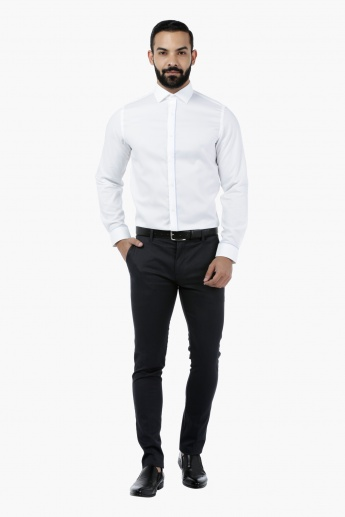 Solid Dobby Shirt with Placket Piping
