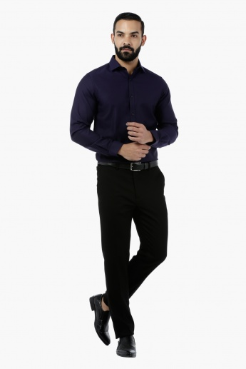 Solid Textured Full-sleeved Shirt
