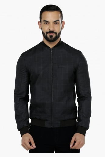 Chequered Bomber Jacket in Slim Fit