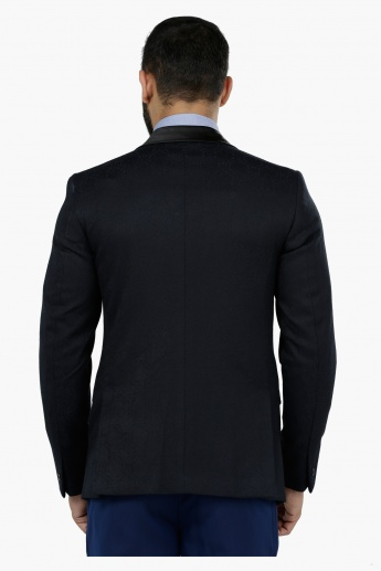 Slim Fit Evening Blazer with Contrasting Collar