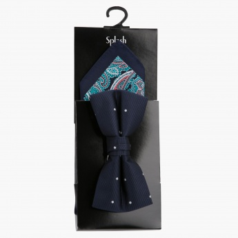 Printed Bow Tie and Pocket Square Set