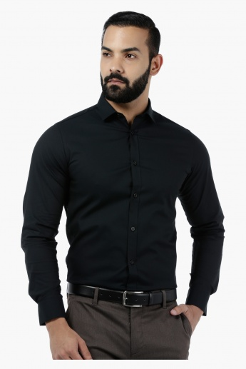 Solid Stretch Body-fit Shirt