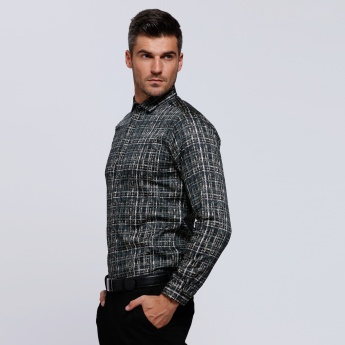 Printed Shirt with Complete Placket and Long Sleeves