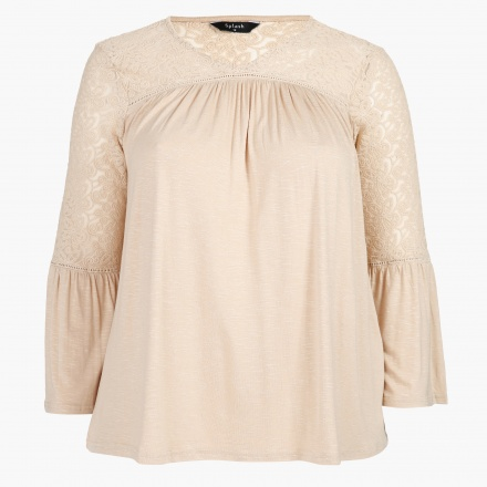 Embroidered Top with Pleats