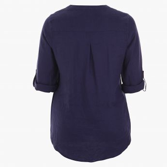 Plus Size Long Sleeved High-low Shirt