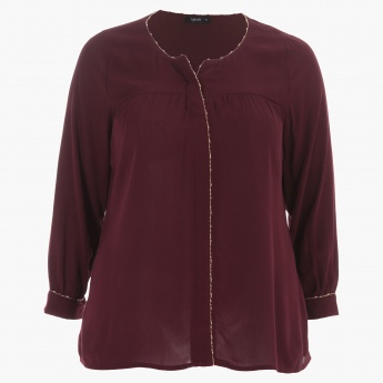 Plus Size Long Sleeves Top with Edge Trim Detailing