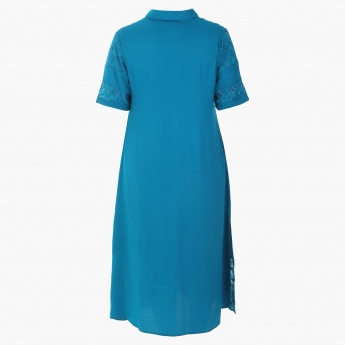 Plus Size Button Through Dress with Short Sleeves