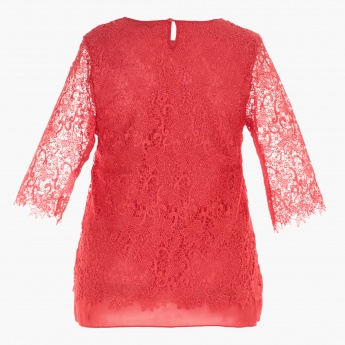 Plus Size Lace Top with Long Sleeves
