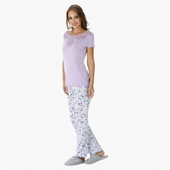 Printed Pyjama Set with Lace Embroidered Top
