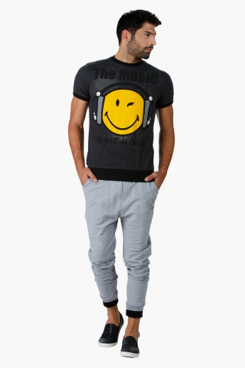 Smiley World Melange Graphic Print T-Shirt with Short Sleeves