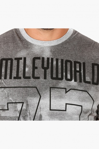 Smiley World Printed T-Shirt with Short Sleeves