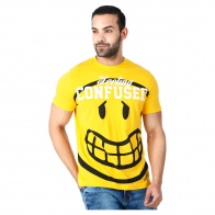 Smiley World Graphic Print Cotton T-Shirt with Short Sleeves in Regular Fit