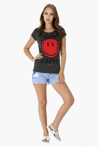 Smiley World Printed T-Shirt with Short Turn Up Sleeves