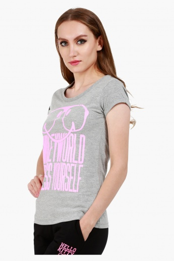 Smiley World Graphic Print Cotton T-Shirt with Short Sleeves