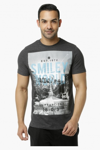 Smiley World Printed Crew Neck T-Shirt with Short Sleeves