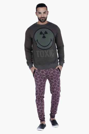 Smiley World Printed Sweatshirt with Long Sleeves