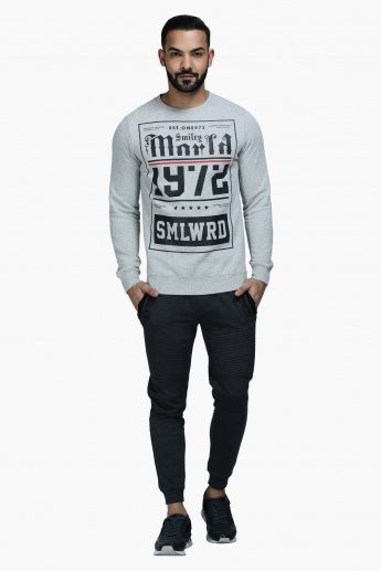 Graphic Print Crew Neck T-Shirt with Long Sleeves