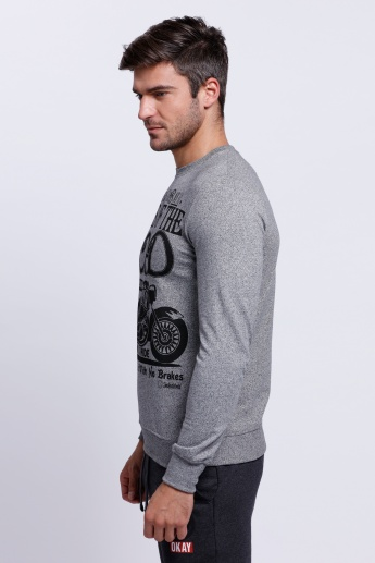 Smiley World Printed Sweatshirt with Crew Neck and Long Sleeves