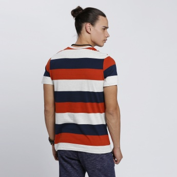 Smiley World Striped T-Shirt with Round Neck and Short Sleeves