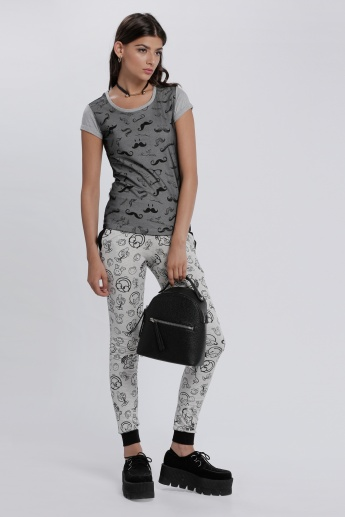Smiley World Printed Leggings with Contrast Waist and Cuffs