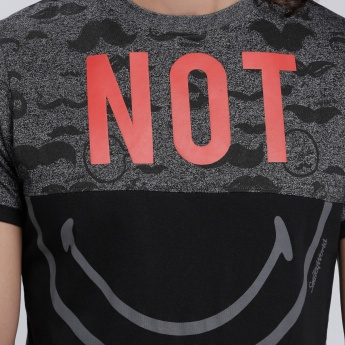 Smiley World Printed Round Neck T-Shirt with Short Sleeves