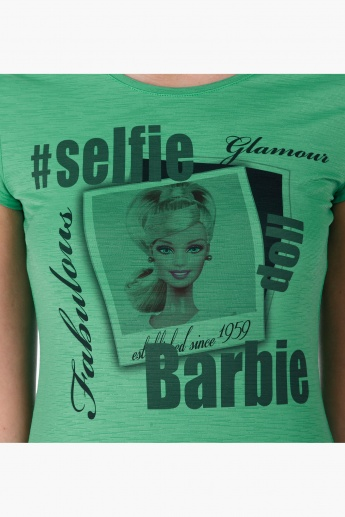 Barbie Printed T-Shirt with Short Sleeves in Regular Fit