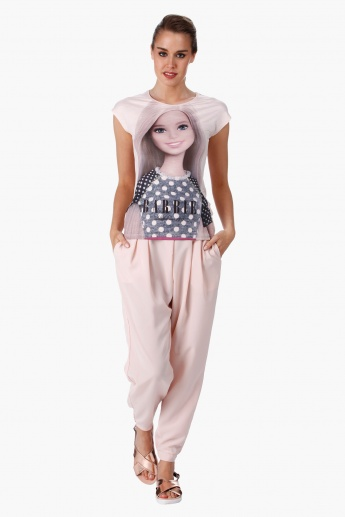 Barbie Print T-Shirt with Short Sleeves in Regular Fit