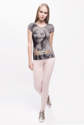 Barbie Printed T-Shirt with Short Sleeves and Round Neck