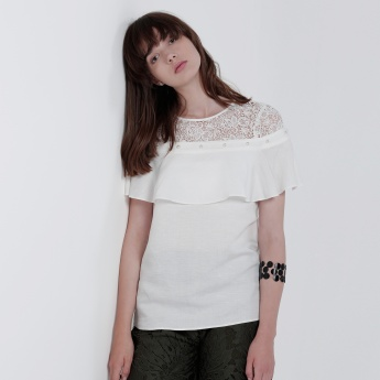 Layered Top with Lace Yoke