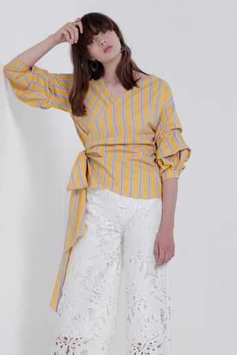 Stripes 3/4 Sleeves Top with Tie Up