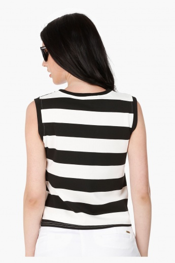 Sleeveless Top with Stripes and Trim Embellishment in Regular Fit