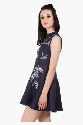 Sleeveless Skater Dress with Jacquard Embroidery in Regular Fit