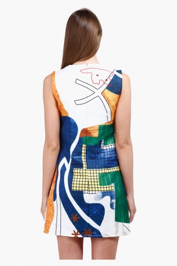 Sleeveless Skater Dress with Block Print in Regular Fit