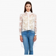 Lace Shirt with Collar Neck and Long Sleeves in Regular Fit